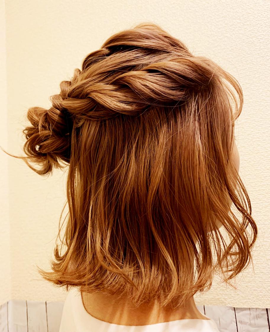 シンプルなまとめ髪|ハーフアップ