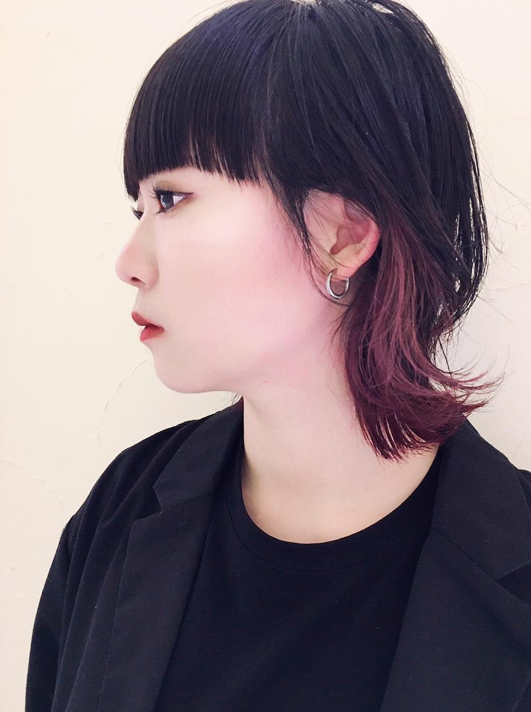 黒髪や暗髪に映える上品なインナーカラー《ピンクパープル》