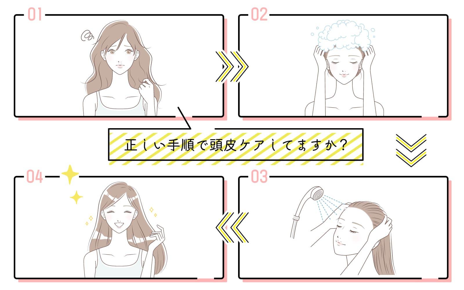 炭酸シャンプーで頭皮を洗う手順をチェック